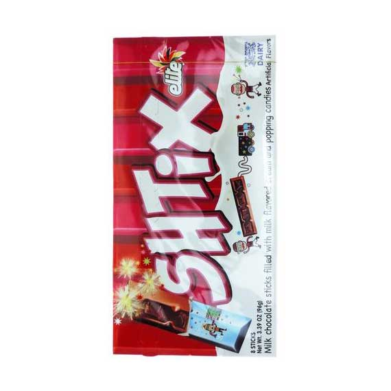 Elite - SHTIX, Milk Chocolate sticks filled with Milk flavored cream and popping candies. - מקלות שוקולד חלב מלאים בממתקים בטעם חלב