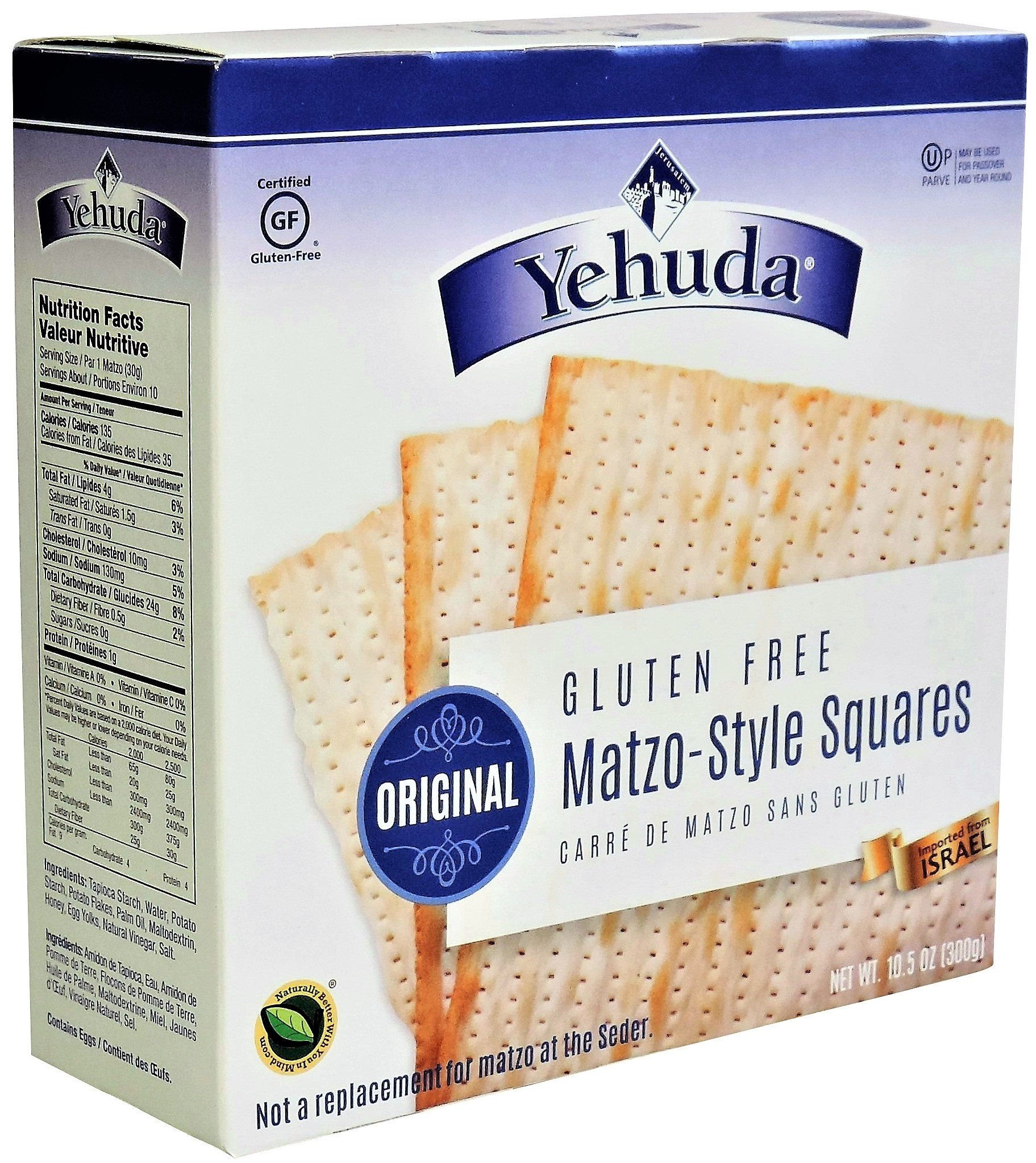 Kosher for Passover; Gluten free; 10.5 ounces (300 gr) Product of Israel;